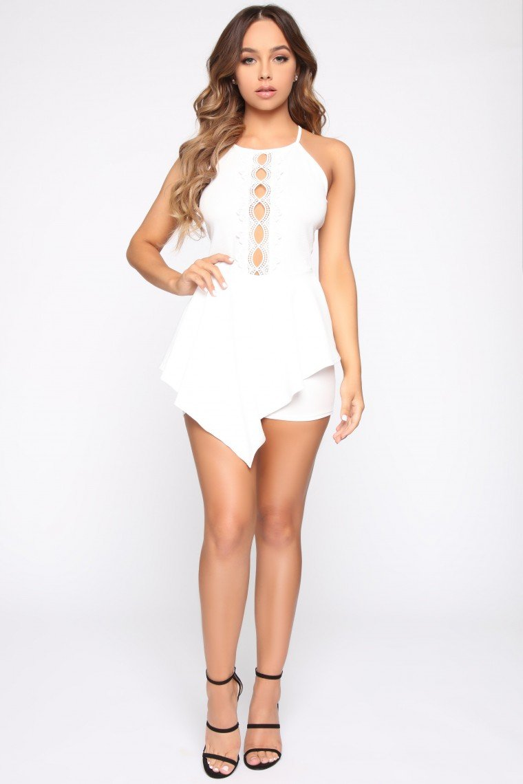 Falling For You Romper - Ivory