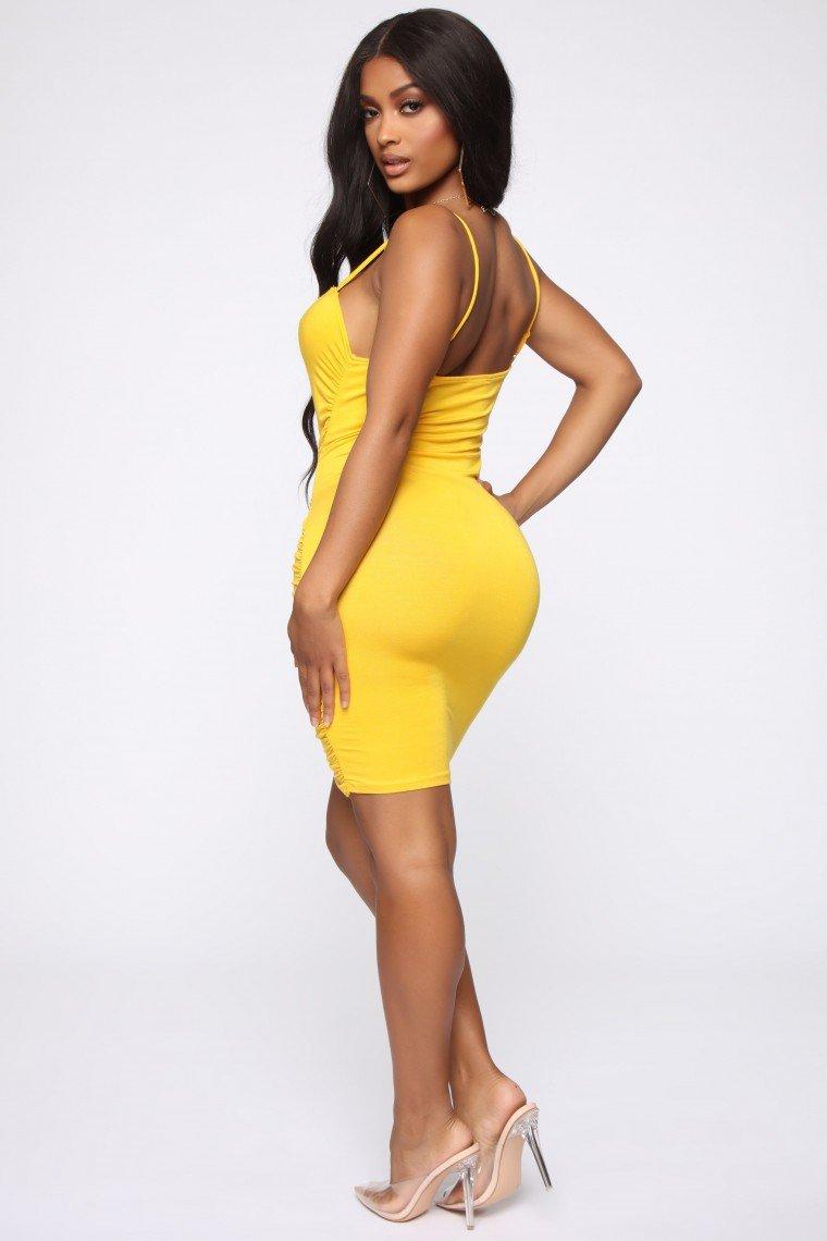 Jakarta Ruched Dress - Yellow
