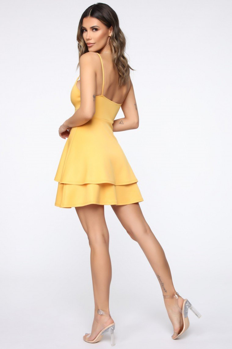 Mine For The Night Flare Mini Dress - Gold