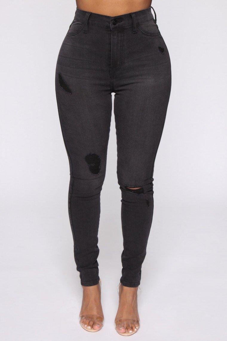 Emma Curvy Distressed Compression Skinny Jean - Grey